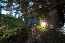 Armin Beeli, Marco Gisler und Susann Morgenstern in der Abfahrt unterhalb der Dutjer Alp.