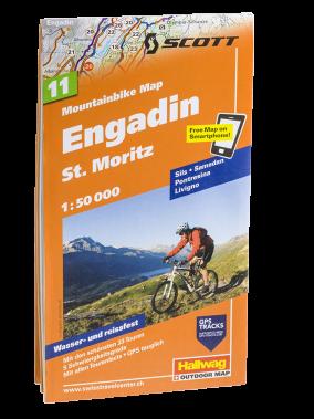 Hallwag Mountainbike Map Engadin St. Moritz